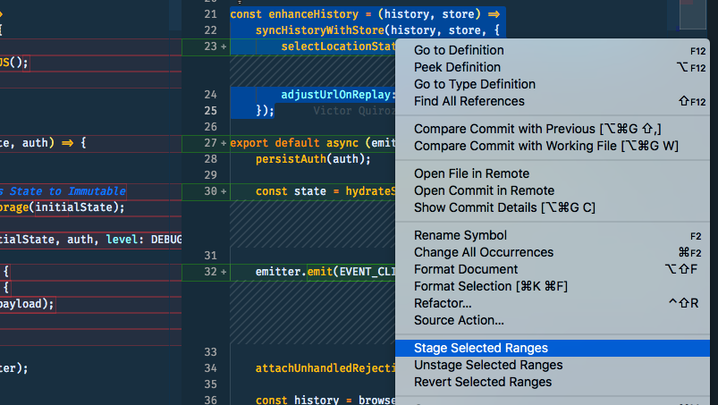 Showing how to use 'Stage Selected Changes' in VS Code